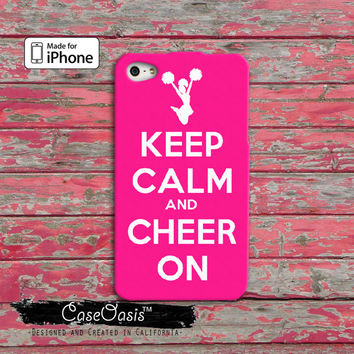Keep Calm and Cheer On Cheerleading pink iPhone 4 and 4s Case and Custom iPhone 5 and 5s and 5c Case