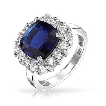 925 Silver Cushion Cut Simulated Sapphire CZ Engagement Ring