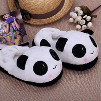 Women's Fashion House Shoes Indoor Novelty Slipper for Lovers Warm Slippers Lovely Cartoon Panda Face Soft Plush Household Thermal Shoes 26cm / 10.24in Home & Living H12673|26501 (Color: White)