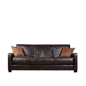 Brown Leather Sleeper Sofa Bed Futon with Extra Thick Cushions