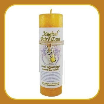 """New Beginnings"" Pillar Candle with Fairy Dust Necklace"
