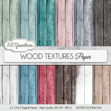"Digital wood paper ""WOOD TEXTURES PAPER"" textured digital background in mint green wood grain, aqua, pink, red, white wood, wood background"