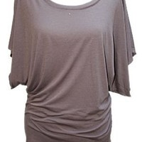 YogaColors Crystal Boatneck Dolman Sleeve Blouse Jersey Tee Up to Plus Size (X-Large, Dirt)