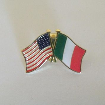 Italy Flag and USA Lapel Pin Crossed Friendship Italia Italian Flag