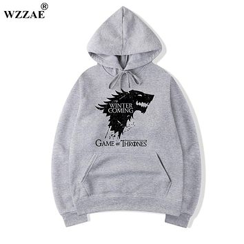 WZZAE Top Quality Cotton Blend Game of Thrones Hoodies Casual Winter is Coming Sweatshirt With Hat 2017 Newest Style Hoody H01