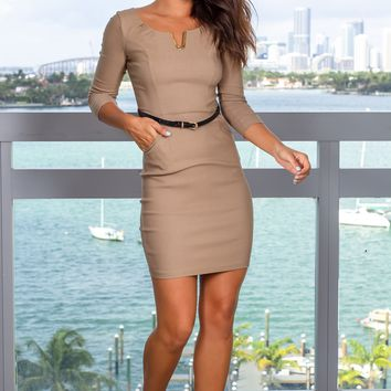 Beige Short Dress with Belt and 3/4 Sleeves
