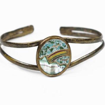 Mexican Bracelet Vintage Cuff Silver Metal Mother Of Pearl Turquoise Rainbow