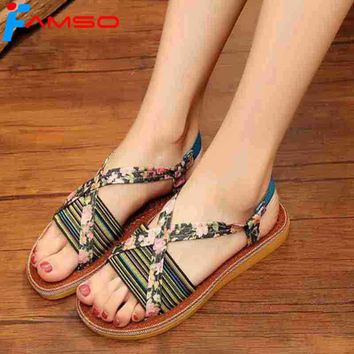 FAMSO 2018  Free Shipping T-Strap Print Patchwork Slides Summer outdoor Beach shoes China Style Women Flats Sandals Shoes