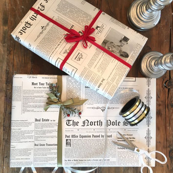 North Pole Newspaper Wrapping Paper Roll  - Cute Black and White Christmas Gift Wrap