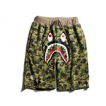 Bape Summer Tide Brand Camouflage Shark Sports Casual Pants Couple Shorts F-CP-ZDL-YXC green