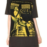 Freddie Mercury Queen Band Tee Charcoal Black Hard Rock T-Shirt Size L