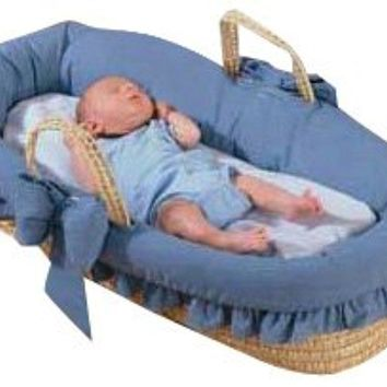 Baby Doll Bedding Denim Moses Basket, Blue