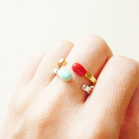 Matchstick Ring in White and Gold. Adjustable Ring. Stackable Ring.