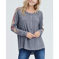 where your love lies - waffle knit embroidered long sleeve henley thermal top - charcoal grey