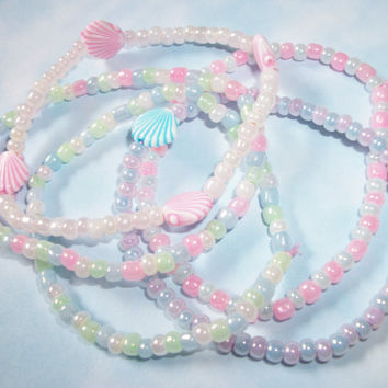 5 Mermaid Seashells Fairy Kei Pastel Kawaii Mini Beads Bracelets, Soft Pastel Mermaid Bracelets