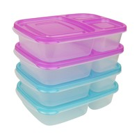 Evelots Set Of 4 Bento Lunch Box Containers - 3 Compartments