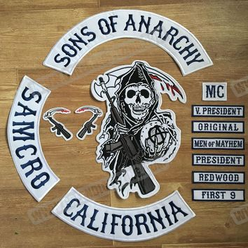 2015 Original Son Of Anarchy Jacket Back Embroidered Patch Motorcycle Biker Club Patch 35CM Full Back SOA Patches Free Shipping