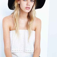 Line + Dot Embroidered Ruffle-Top Strapless Top- Cream M