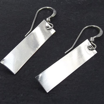 Silver Bar Earrings, Rectangle Earrings, Nameplate Earrings in Sterling Silver, Women's Jewelry or Gift