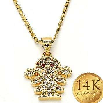 Gold Layered Women Little Girl Fancy Necklace, with White Cubic Zirconia, by Folks Jewelry