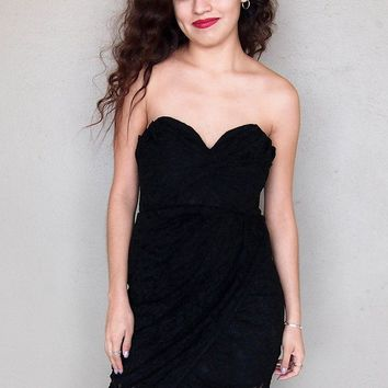 All The Right Moves Black Lace Strapless Wrap Dress