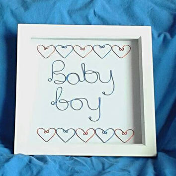 New Baby Wall Art, Baby Boy Gift, New Baby Gift, Baby Shower, Nursery Wall Art, Baby Announcement, Baby Frame