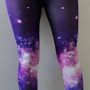 Free Shipping in the U.S. Hand Studded Stary Night Blues and Purple Printed Leggings