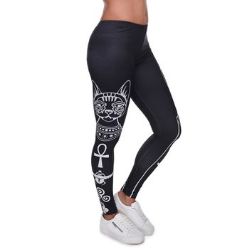 Cat Symbol Printed Leggings - High Waist Women's Fitness Leggings