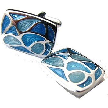 Basket Hill ,Artistic Swirling Blues and Silver Mens Cufflinks