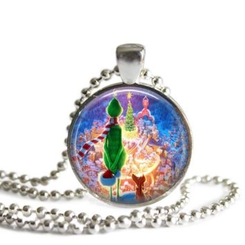 The Grinch and Max Whoville 1 Inch Silver Plated Pendant Necklace or Keychain