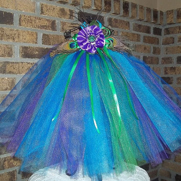 Peacock Tutu Dress-Flower Girl-Wedding-Pageant-Birthday, Infant, Baby, Toddler, Girl, Pretty-Unique-Special-Photo-Picture