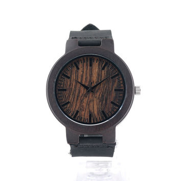 BOBO BIRD Wooden Wristwatches Mens Wood Watch Leather Band Wood Clock Wrist Watches for men Casual Quartz-watch C24