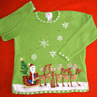 Ugly Christmas Sweater Green with Santa and his Reindeer