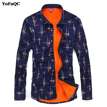 Autumn Winter Warm Men Casual Shirts Fashion Long Sleeve Brand Printed Button-Up Polka Dot Floral 2017 New Dress Shirt Size 4XL