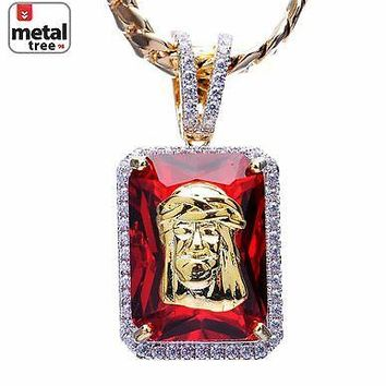 Jewelry Kay style Men's 14k Gold Plated Jesus & Ruby Pendant Miami Cuban Chain Necklace BCH 1104