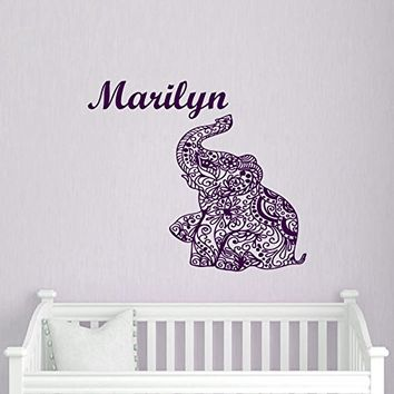 Wall Decals Custom Personalized Name Decal Elephant Vinyl Sticker Girl Bedroom Nursery Baby Room Home Decor Ms30