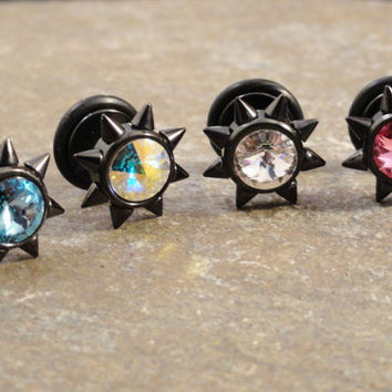 Fake Plug Black Sun with Spikes Tragus Cartilage Upper Ear Piercing