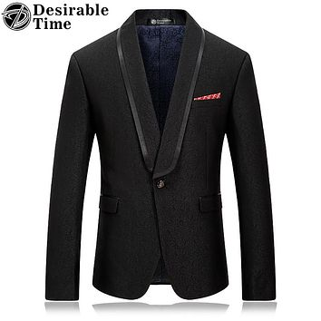 Men Black Blazer Jacket Slim Fit Fashion Stage Clothing Shawl Collar Men Casual Prom Blazers