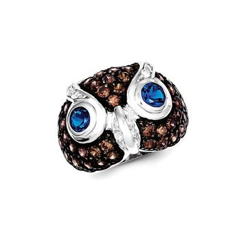 Sterling Silver CZ Brown & Clear Owl Ring