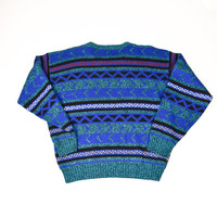Blue Geometric Sweater for Men by Eagle Ridge Size M