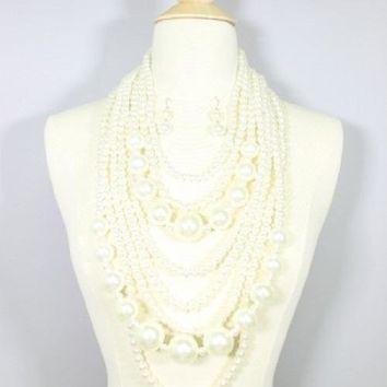"18"" cream faux pearl multi row strand 30"" drape choker collar necklace earrings"