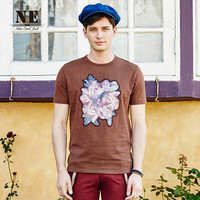 Summer England Style Slim Stylish Print Short Sleeve Men Round-neck T-shirts [7951291459]