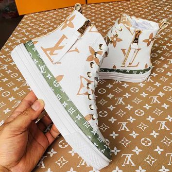 LV hot selling fashion lovers contrast color printed gaobang sneakers