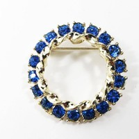 Blue Rhinestone Circle Pin in Gold Tone Setting Vintage 1950s 1960s Style Round Rhinestone Wreath Brooch