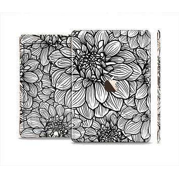 The White and Black Flower Illustration Skin Set for the Apple iPad Air 2