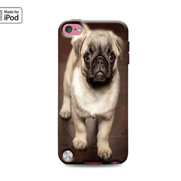 Pug Face Cute Puppy Dog Baby Animal Puppies Adorable Best Friend Funny Rubber Case for iPod Touch 6th Generation Gen or iPod Touch 5th Gen