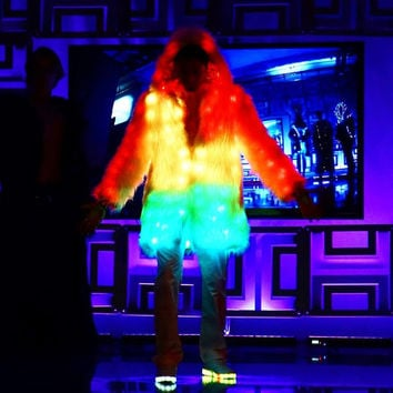 Glitch Smart Burning Man Fur Coat with 300 LEDs (RGB, TCL) | Playa Wear Badass Jacket Glow At night LED Clothes
