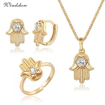 Bijoux  Gold Color Cute Hamsa Hand Pendant CZ Necklace Earrings Adjustable Heart Ring For Women Girls Gifts Jewelry Set