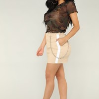 So Chained To You Skirt - Taupe