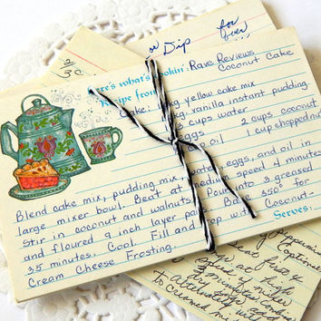Vintage Recipe Cards. Handwritten Recipes. 3x5 Recipe Cards. Vintage Cookbook. Scrapbook Ephemera. Mixed Media Supply. Junk Journal Paper.